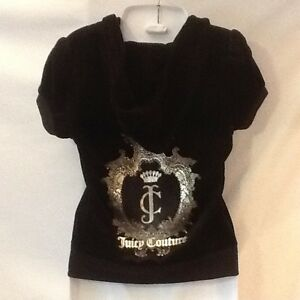 Juicy Couture Zip Up Velour Short Sleeve Hoodie Black Small NWT