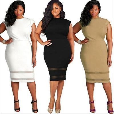 US Women Plus Size Design Solid Sleeveless Bodycon Gauze Splice Party Mini Dress