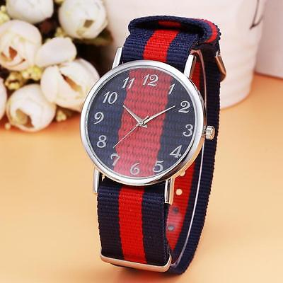 New Luxury Womens Mens Watch Canvas Stripe Band Clear Case Analog Wrist Watches