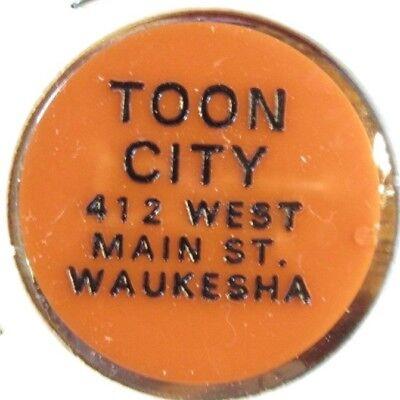 Vintage Toon City Waukesha, WI Orange Plastic Trade Token - Wisconsin