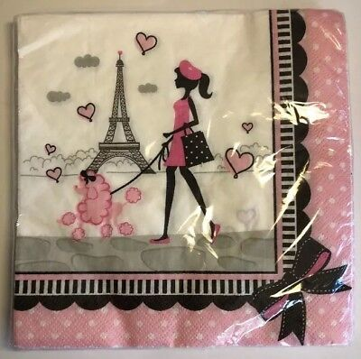 +Paris Luncheon Napkins Eiffel Tower Pink Poodle Bows Dots Dog Birthday Party