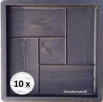 10 Schalungsformen für Beton Gips Trittsteine Gehweg Garten 30x30x3 Holzoptik