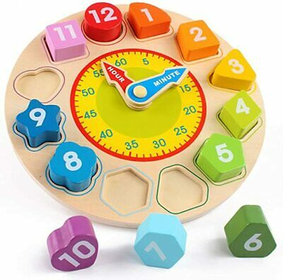 Wooden Shape Sorting Clock Puzzle Teaching Time Number Blocks Educational Toy