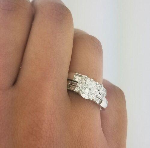 14k White Gold Diamond Engagement Ring Set Bridal Anniversary Wedding Band