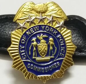 NYPD Police Commissioner mini badge shield NYC Police Commissioner LAPEL PIN pba