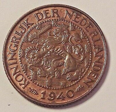 1 Cent 1940 NETHERLANDS KONINGRIJK DER NEDERLANDEN Wilhelmine KM# 152, Schön# 31