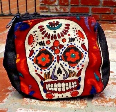 DAY OF THE DEAD MULTI COLORED SUGAR SKULL MAKE UP  COIN BAG MEXICO FREE SHIPPING](Day Of The Dead Make Up)