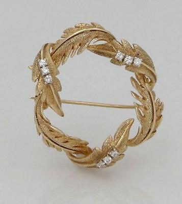 "LADIES 14K YELLOW GOLD 1/5c DIAMOND TEXTURED WREATH LEAF LEAVES PIN BROOCH 1.31"""