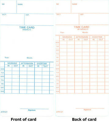 250 Atr121 Time Cards For Acroprint Atr120 Atr120r Time Clocks 09-9110-000