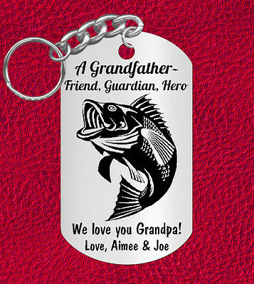 Grandfather Keychain Gift for Grandpa, BASS Fish. Unique. Personalized!