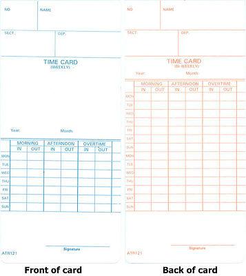 1000 Atr121 Time Cards For Acroprint Atr120 Atr120r Time Clocks 09-9110-000