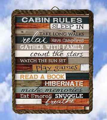 (Lake 30 Cabin Rules Gifts Lake Decor Prints Fishing Welcome lalarry Rope Frame)