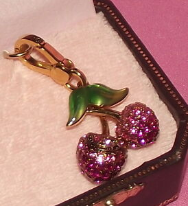 JUICY-COUTURE-HOT-PINK-CHERRIES-CHARM-GOLD-IN-ORIGINAL-BOX-WITH-TAG