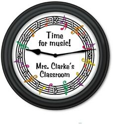 Personalized Time for Music WALL CLOCK - Teacher Classroom Band Instrument  GIFT