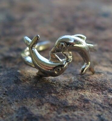 Hawaiian 925K Sterling Silver Double Dolphin Toe Ring 8mm TR1321