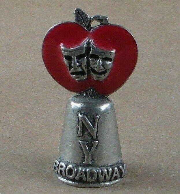Vintage Pewter Thimble Broadway New York Enamel Apple