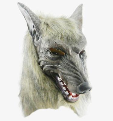 WOLF MASK FANCY DRESS COSTUME ADULTS ANIMAL LATEX WEREWOLF GREY HAIR SCARY DOG