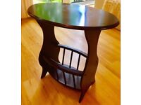 Classical Oval Wooden Side Table with Elliptical Storage Rack