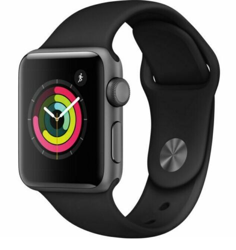 Apple Watch Series 3 38 mm Gray Case Black Aluminium Smartwatch Very Good