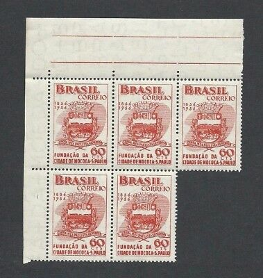 BRAZIL 1956  SG 938 - Margin BLOCK of 5 x 60c - CENTENARY OF MOCOCA - MNH