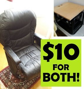 COMFORTABLE Reclining Office CHAIR + OTTOMAN --- $10 ONLY!!