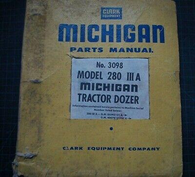 Michigan Clark 280-iiia Tractor Dozer Parts Manual Catalog Crawler List Oem Book