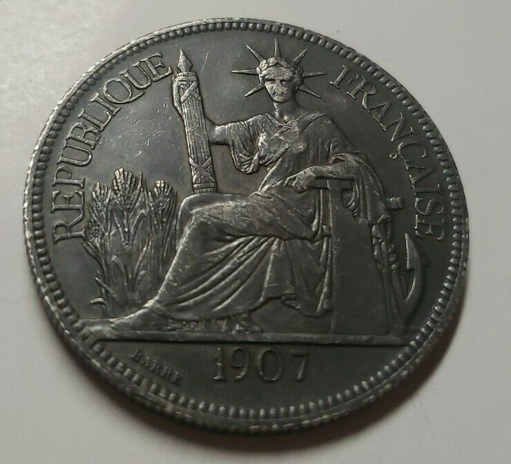 French Indo-China Silver 1907 1 Piastre Coin KM 5a.1 Old Coin