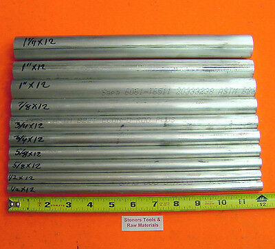 10 Pieces 6061 T6 Aluminum Round Rod Assortment 12 To 1-14 Lathe Stock 6.2