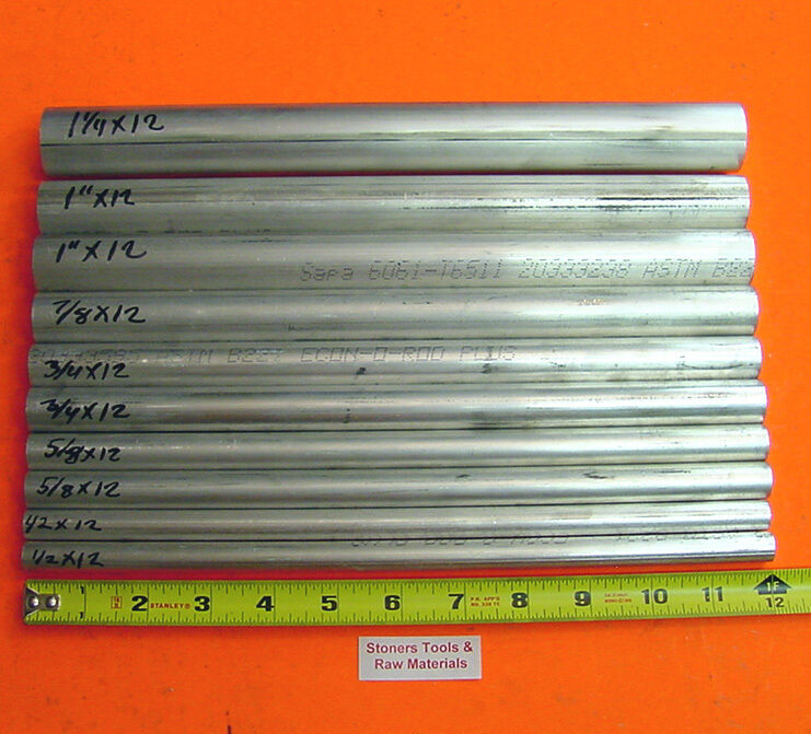 "10 Pieces 6061 T6 ALUMINUM ROUND ROD ASSORTMENT 1/2"" To 1-1/4"" Lathe Stock #6.2"