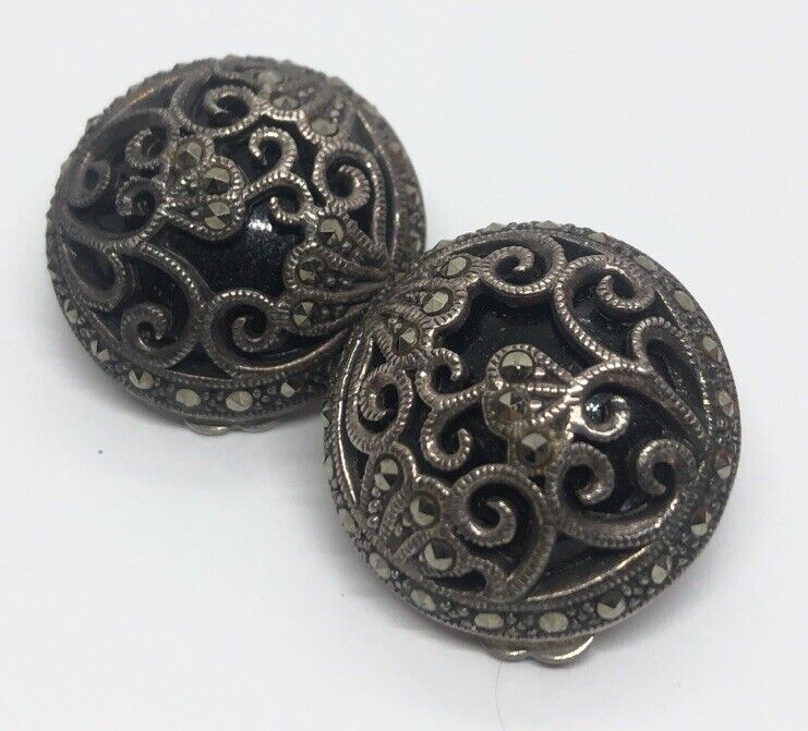 Vintage Sterling Silver Earrings 925 Clip On Deco Marcasite Onyx Round Flower