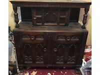 Antique Reproduction Dark Wood Sideboard Court Cupboard