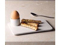 2 x The White Company egg cup plates