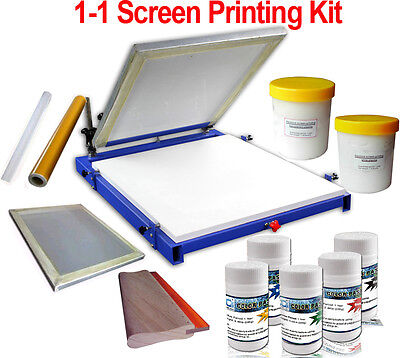 1 Color Screen Printing Press Kit Vinyl Ink Screen Frame Adhesive Squeegee New
