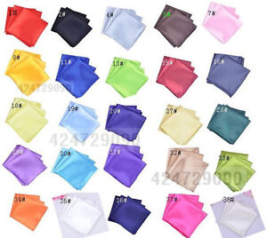 NEW-WHOLESALE-LOT-MENS-25-HANDKERCHIEFS-POCKET-SQUARES-SOLID-Wedding-Napkin-Ties