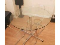 Large 1m round glass table with 2 chairs