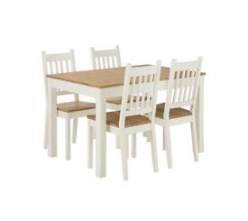 Country style natural and white wood dining table and 4 chairs