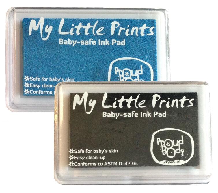 BABY SAFE NONTOXIC Handprint Footprint Finger Print INK PAD Black + Blue Combo