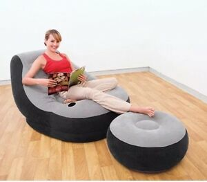 Intex Inflatable Chair And & Ottoman Lounge Seat Dorm Room Bean Bag Video