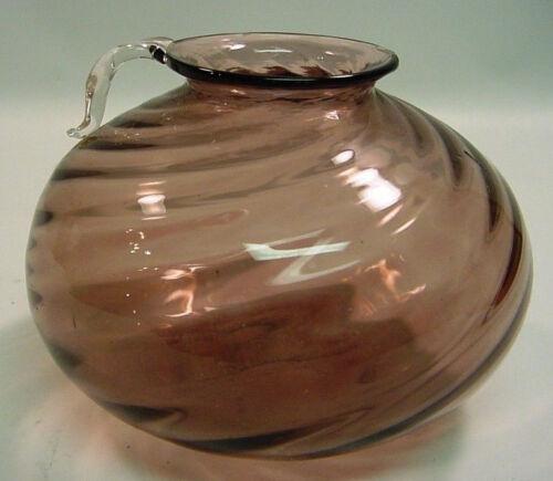 Antique Hand Blown Purple Art Glass Swirled Jug Vase