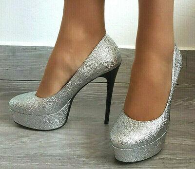 Zapatos de Salón Mujer Fiesta Pumps Talón 14 Negro Plateau Sexy Purpurina...