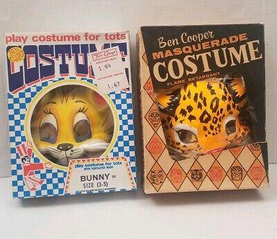 Vintage Ben Cooper Costume Animal Bunny Leopard Mask Box Masquerade Halloween - Ben Cooper Vintage Halloween Costumes