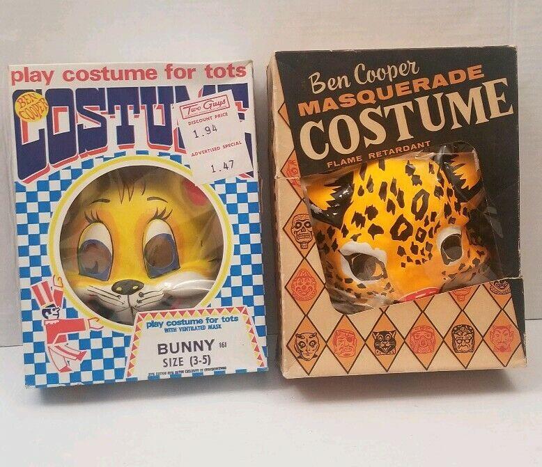 Vintage Ben Cooper Costume Animal Bunny Leopard Mask Box Masquerade Halloween