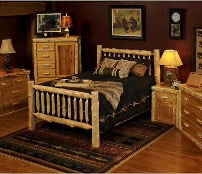 RUSTIC LOG BED - Small Spindles  $299  Ships Free !! NOT Twist of Nature brand
