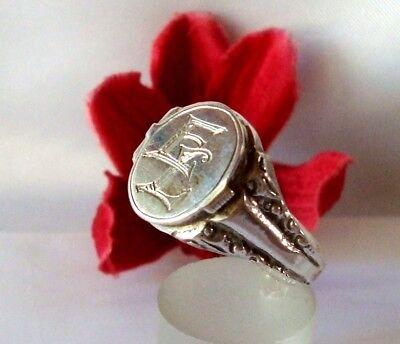 alter Siegelring 835 Silber mit Monogramm und Fach EL / LE Fingerring / cg 103