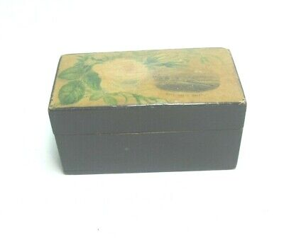 ANTIQUE MAUCHLINE BLACK TRANSFER WARE SMALL BOX FLORAL RHYL NORTH WALES