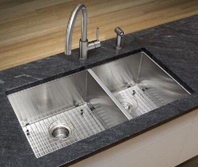 Omax Accommodations Stainless Steel Handmade  Kitchen Sink 60/40 Undermount SALE!