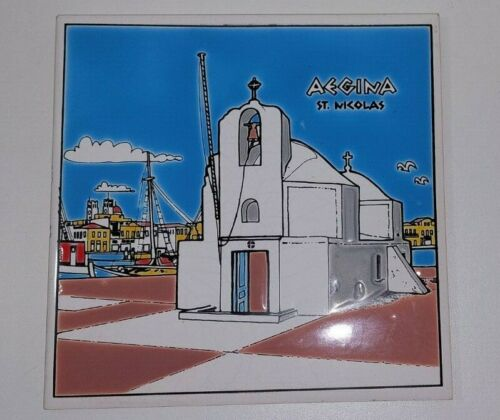 Vintage Ceramic Tile Art Hand Made by Niarchos Made in Greece Aegina Church/Sea