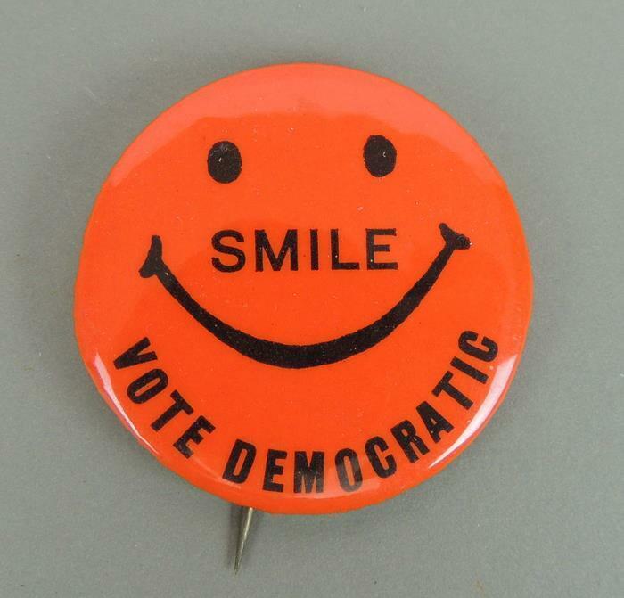 Smile VOTE Democratic Smiley Face Political Campaign Cause Pinback Button
