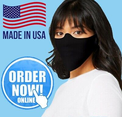 Black Reusable Face Mask Washable Thin Light Fleece Cut Fabric Cover Made in USA