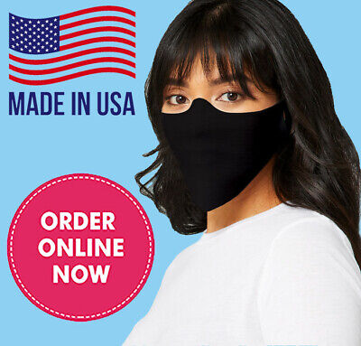 Black Reusable Face Mask Made In USA! Breathable Thin Cut Washable Fabric Cover